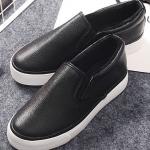 รองเท้าผ้าใบแฟชั่นผู้หญิงสีดำ วัสดุหนัง ทรงมัฟฟิน ด้านในเป็นผ้ากำมะหยี่ สวมใส่สบาย แฟชั่นเกาหลี