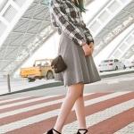 รองเท้าส้นเตารีดสีดำ วัสดุPU มีเข็มขัดรัดส้น ส้นสูง8cm หวาน สไตล์เจ้าหญิง แฟชั่นเกาหลี