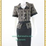 3183เสื้อผ้าคนอ้วนผ้าไทยทอลาย2หน้าเบรคลายด้วยผ้าพื้นปกแขนเอวกระดุมหน้าสไตล์ชุดภูมิฐานเป็นทางการ