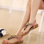 รองเท้าแตะรัดส้นสไตล์โบฮีเมี่ยน (สีชมพู)