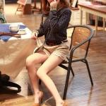 รองเท้าส้นสูงสีแอปริคอท แบบส้นเข็ม หุ้มส้น หัวมล หนังPU ส้นสูง9cm คลาสสิค แฟชั่นเกาหลี