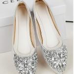 รองเท้าส้นแบนแฟชั่นสีเงิน หัวแหลม ประดับเพชร อาซาคุจิ วัสดุพียู สไตล์หวาน น่ารัก แฟชั่นเกาหลี