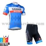 ชุดจักรยานแขนสั้น Garmin 2014 สีน้ำเงินขาว