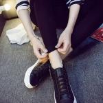 รองเท้าผ้าใบหนังแฟชั่นสีดำ แบบรัดข้อ ซิปข้าง เชือกผูก ทรงคลาสสิค ยอดนิยม ใส่ลำลอง