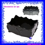 ถาดสี่เหลี่ยมของ Anna รุ่นใหม่ ลวดลายผีเสื้อและดอกกุหลาบ สีดำอะคิลิค ขนาดใหญ่