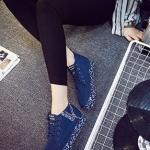รองเท้าผ้าใบแฟชั่นผู้หญิงสีน้ำเงิน พื้นลาย แบบเชือกผูก แต้งซิปข้างที่ส้น ทรงทันสมัย น่ารัก ไม่ซ้ำใคร แฟชั่นเกาหลี