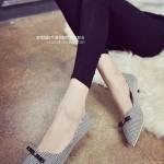 รองเท้าคัทชูผู้หญิงสีดำ ส้นเตี้ย ลายสก็อต หัวแต่งโยว์น่ารัก วัสดุพียูคุณภาพ น่ารัก ดูดี แฟชั่นเกาหลี
