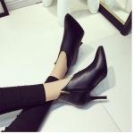 รองเท้าบูทส้นสูงสีดำ หัวแหลม แบบส้นเข็ม มีซิป ส้นสูง8ซม. แฟชั่นเกาหลี