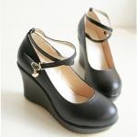 รองเท้าส้นเตารีดสีดำ หุ้มส้น วัสดุPU มีเข็มขัดรัดข้อเท้า ส้นสูง8CM แฟชั่นเกาหลี