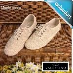 รองเท้าผ้าใบผู้หญิงสีครีม ลูกไม้ Valentino ทำจากลูกไม้โคเชถักลาย นิ่ม น่ารัก ทรงสวย