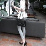 รองเท้าส้นสูงสีดำ หุ้มส้น หัวแหลม แบบส้นเข้ม ส้นสูง10cm ทรงเจ้าหญิง แฟชั่นเกาหลี