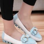 รองเท้าคัทชูส้นเตี้ยสีม่วง ประดับโบว์ฝังเพชร หนังPU พื้นยาง หรูหรา แฟชั่นเกาหลี