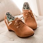 รองเท้าแฟชั่นผ้าใบผู้หญิงสีน้ำตาล ส้นหนา วัสดุPU แบบเชือกผูก ส้นหนา5cm แฟชั่นเกาหลี
