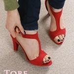 รองเท้าส้นสูงสีแดง รัดส้น หนังกลับ เซ็กซี่ ส้นสูง7cm แฟชั่นเกาหลี