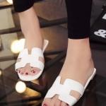 รองเท้าแตะผู้หญิงสีขาว เปิดส้น แบบสวม H สวมใส่สบาย ทรงยอดฮิต แฟชั่นเกาหลี