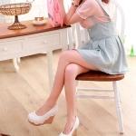 รองเท้าส้นเตารีดสีขาว หุ้มส้น ตกแต่งระบายลายลูกไม้ หัวมล สไตล์หวาน ส้นสูง8cm แฟชั่นเกาหลี