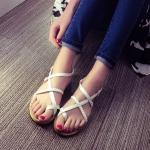 รองเท้าแตะผู้หญิงสีขาว พื้นสีน้ำตาล แบบสายรัด แนววินเทจ แฟชั่นเกาหลี