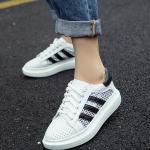 รองเท้าผ้าใบแฟชั่นสีขาว แถบดำ ผผ้าตาข่าย ส้นหนา สวมใส่สบายเท้า ระบายอากาศได้ดี แฟชั่นเกาหลี