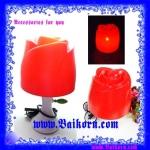 โคมไฟรูปดอกกุหลาบ ( Rose table lamp ) โคมไฟตั้งโต๊ะ รูปดอกกุหลาบ สีแดง