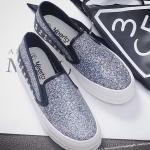 รองเท้าผ้าใบแฟชั่นเกาหลีสีเงิน ทรงฮาราจูกุ ประดับกากเพชร หรูหรา โก้เก๋ ทรงทันสมัย