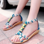 รองเท้าแตะผู้หญิงสีน้ำเงิน รัดส้น โชว์นิ้วเท้า พื้นสาน สไตล์โบฮีเมี่ยน ส้นแบน แฟชั่นเกาหลี