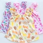 ไซด์ 0-6 เดือน เซ็ท 3ตัว เสื้อคอกระเช้าเด็กอ่อน ผ้าคอตตอน คละลาย
