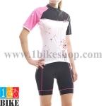 ชุดจักรยานแขนสั้น Cheji 2015 สีขาวดำชมพู