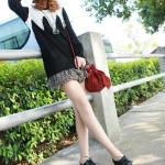 รองเท้าผ้าใบผู้หญิงสีดำ หนังเรียบ หัวแหลม แบบเชือกผูก ส้นเตี้ย น่ารัก แฟชั่นเกาหลี
