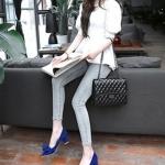 รองเท้าทำงานส้นสูงสีฟ้า หุ้มส้น หัวแหลม ประดับโบว์ ส้นหนา ส้นสูง6cm ทรงสุภาพ แฟชั่นเกาหลี