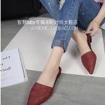 รองเท้าแตะผู้หญิงสีแดง หัวแหลม แบบสวม ส้นเตี้ย ดูดี สวมใส่สบายเท้า แฟชั่นเกาหลี