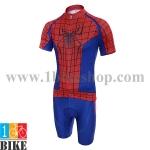 ชุดจักรยานแขนสั้น Super Hero Spider Man สีแดงน้ำเงิน