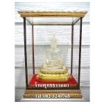 พระพุทธรูปปางมารวิชัย เนื้อเรซิ่น หล่อใสพิเศษ ตันทั้งองค์ ฐานปิดทองแท้ หน้าตัก 5 นิ้ว สูง 9 นิ้ว พร้อมตู้ขนาด 10x6x13นิ้ว