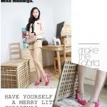 รองเท้าส้นสูงสีโรส รัดส้น หัวกลม ประดับสร้อยสีทอง หัวเข็มขัด ส้นสูง8cm แฟชั่นเกาหลี