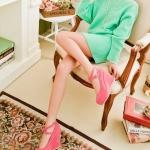 รองเท้าส้นเตารีดสีชมพู วัสดุPU มีเข็มขัดรัดส้น ส้นสูง8cm หวาน สไตล์เจ้าหญิง แฟชั่นเกาหลี