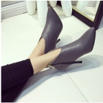 รองเท้าบูทส้นสูงสีเทา หัวแหลม แบบส้นเข็ม มีซิป ส้นสูง8ซม. แฟชั่นเกาหลี