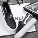 รองเท้าผ้าใบแฟชั่นเกาหลีสีดำ แถบสีขาว วัสดุหนัง แบบสวม ทรงทันสมัย เรียบง่าย ดูดี ใส่ลำลอง