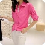 พร้อมส่ง เสื้อเชิ้ตแขนยาว สีชมพูพาสเทล จะใส่ทำงานหรือเที่ยวก็สวยค่ะ