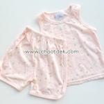 ไซด์ 12 เดือน ชุดเสื้อกล้ามกางเกง สีส้มดอกไม้