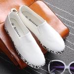 รองเท้าผ้าใบแฟชั่นผู้หญิงสีขาว พื้นลาย พื้นแบน แบบสวม เรียบง่าย ทันสมัย แฟชั่นเกาหลี