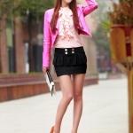 รองเท้าทำงานส้นสูงสีส้ม หุ้มส้น หัวมน ประดับโบว์ หนังPU พื้นหนา3cm ส้มนสูง11cm แฟชั่นเกาหลี