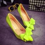 รองเท้าส้นสูงสีเหลือง หัวแหลม ประดับโบว์ ส้นสูง7.5 แหชั่นเกาหลี