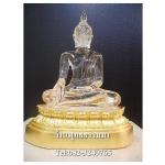 พระพุทธรูปปางมารวิชัย เนื้อเรซิ่น หล่อใสพิเศษ ตันทั้งองค์ ฐานปิดทองแท้ หน้าตัก 5 นิ้ว สูง 9 นิ้ว (รวมฐาน)