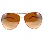 แว่นกันแดด แนว Oversize Decorative กรอบทองลายแดง เลนส์เทา