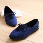 รองเท้าส้นแบนแฟชั่นสีน้ำเงิน หนังนิ่ม แบบเชือกผูก สไตล์หวาน น่ารัก แฟชั่นเกาหลี