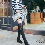 รองเท้าบู๊ตยาวผู้หญิงสีดำ ผ้ากำมะหยี่ ปิดเข่า ส้นหนา6cm เซ็กซี่ ขาเรียว แฟชั่นยุโรป