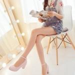 รองเท้าทำงานส้นสูงสีแอปริคอท แบบส้นหนา หุ้มส้น หัวกลม ส้นสูง6cm มีเข็มขัดรัดข้อเท้า ทรงสุภาพ แฟชั่นเกาหลี