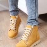 รองเท้าผ้าใบสีเหลือง หุ้มข้อ แบบเชือกผูก วัสดุPU โชว์ลายซิป เก๋ไก๋ แฟชั่นเกาหลี