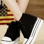 รองเท้าผ้าใบเสริมส้นสีดำ หุ้มข้อ แต่งซิปข้าง แบบเชือกผูก ส้นสูง5cm แฟชั่นเกาหลี