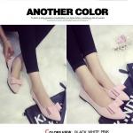 รองเท้าส้นแบนผู้หญิงสีชมพู หุ้มส้น หัวแหลม ประดับโบว์เล็ก ส้นสูง1ซม. แฟชั่นเกาหลี