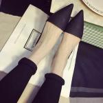 รองเท้าแตะเปิดส้นผู้หญิงสีดำ หัวแหลม ส้นเตี้ย แฟชั่นยุโรป